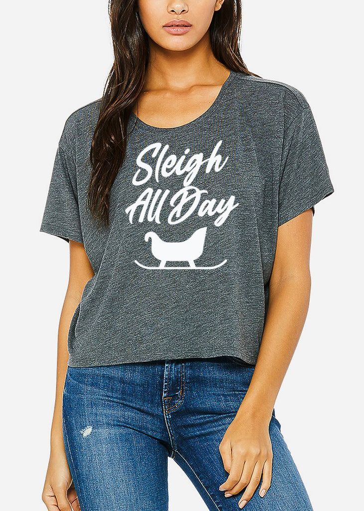 "Christmas Graphic Boxy Tee ""Sleigh All Day"""