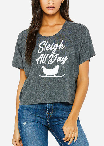 "Image of Christmas Graphic Boxy Tee ""Sleigh All Day"""