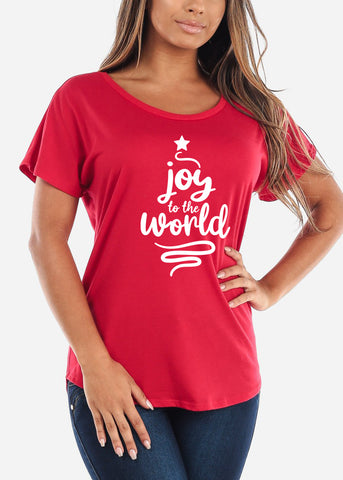 "Image of Christmas Graphic Top ""Joy To The World"""