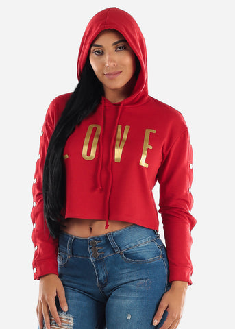 "Red Graphic Crop Hoodie ""Love"""
