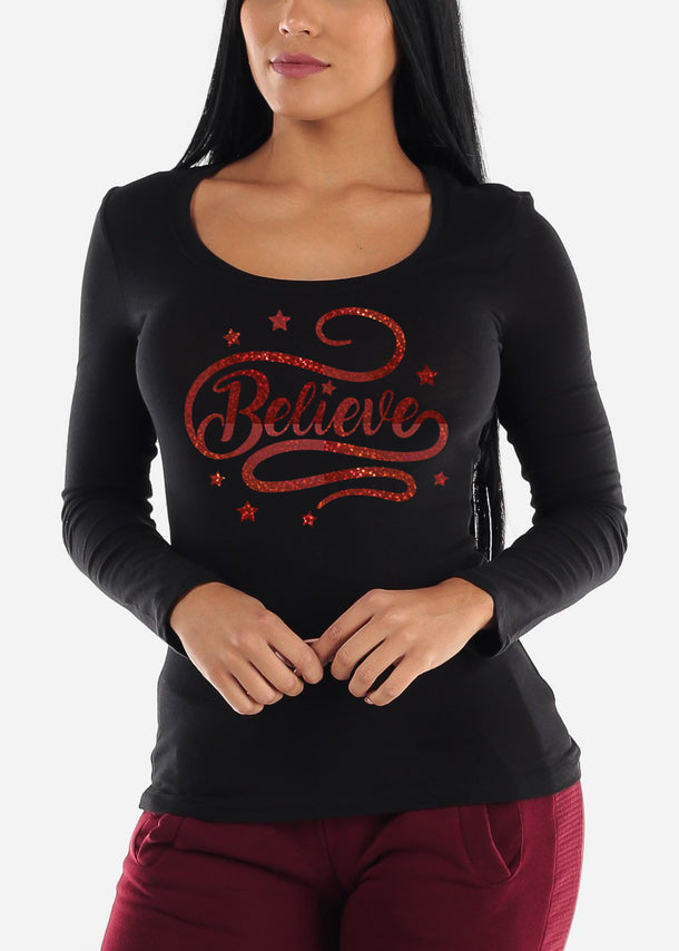 "Christmas Graphic Top ""Believe"""