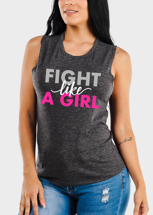 "Charcoal Graphic Tank Top ""Fight Like A Girl"""