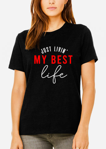"Black Heather Graphic Tee ""Just Living"""
