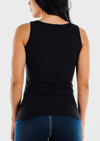 "Black Graphic Tank Top ""Bossy"""
