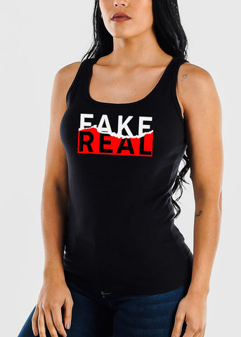 "Black Graphic Tank Top ""Fake Real"""