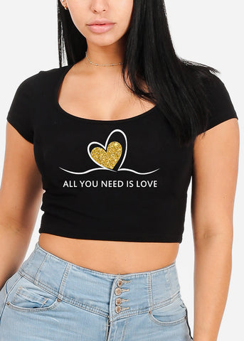 "Black Graphic Crop Top ""All You Need Is Love"""