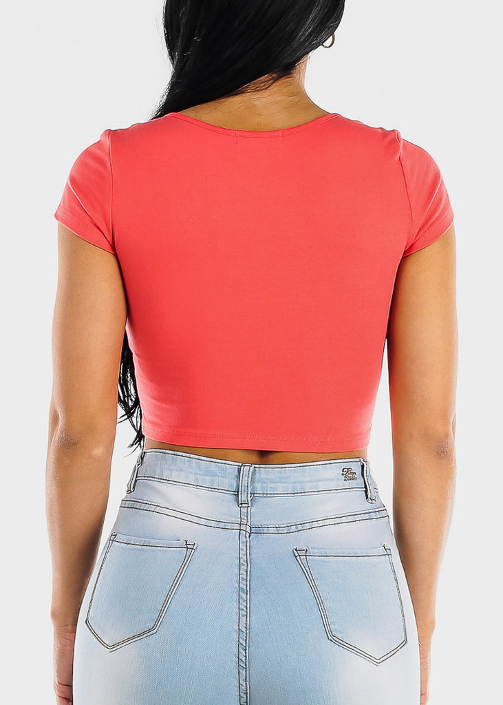 "Coral Graphic Crop Top ""Baby Doll"""