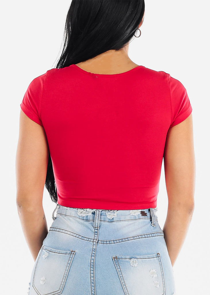 "Red Graphic Crop Top ""Good Vibes Only"""