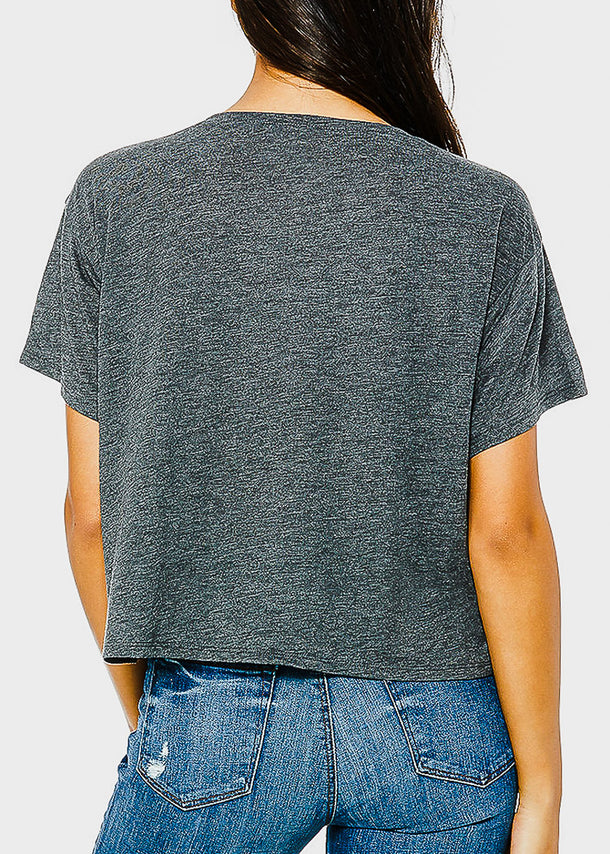 Dark Grey Graphic Boxy Tee