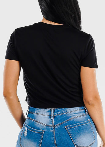 "Black Graphic Crop Tee ""Thick Thighs Thin Patience"""