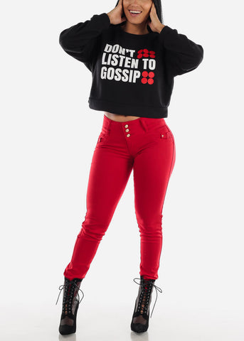 "Image of Black Graphic Pullover ""Don't Listen To Gossip"""