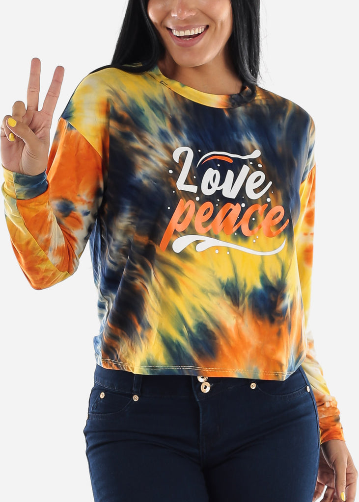 "Tie Dye Graphic Top ""Love Peace"""