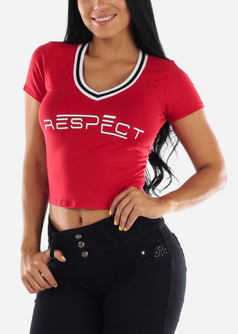 "Red Graphic Top ""Respect"""