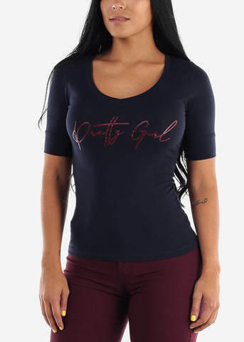 "Image of Navy Graphic T-Shirt ""Pretty Girl"""