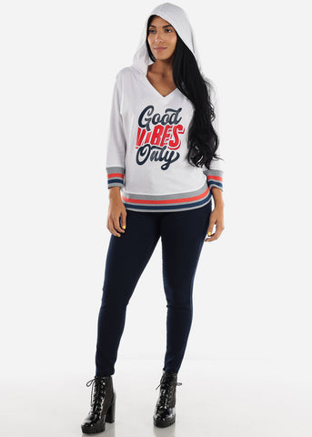 "Image of White Graphic Pullover Sweatshirt ""Good Vibes Only"""
