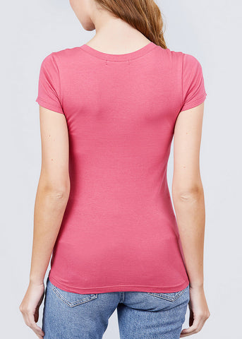 V-Neck Basic T-Shirt (Deep Pink)