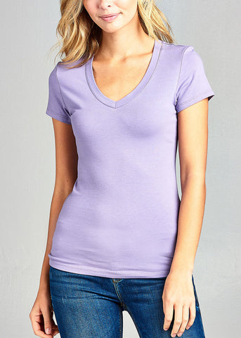 V-Neck Basic T-Shirt (Lavender)