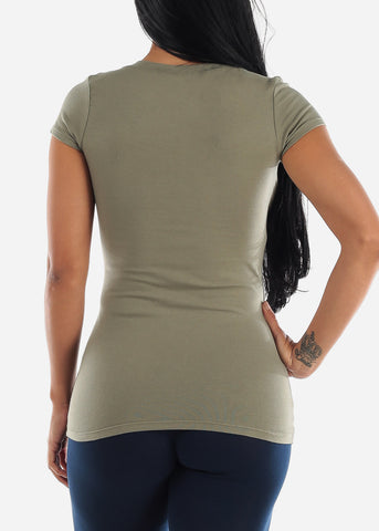 Image of V-Neck Basic T-Shirt (Light Green)