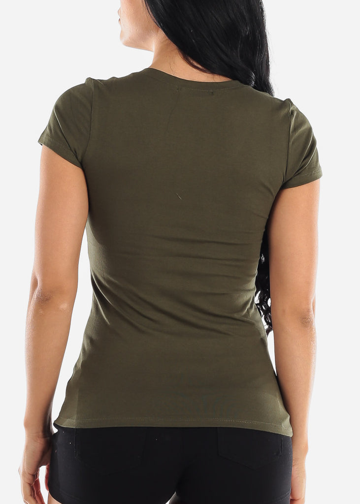 V-Neck Basic T-Shirt (Olive)