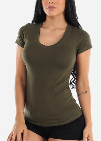 Image of V-Neck Basic T-Shirt (Olive)