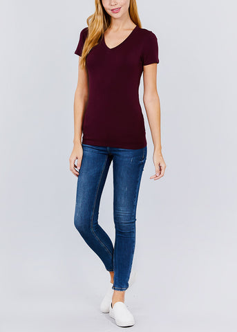 Image of V-Neck Basic T-Shirt (Plum)