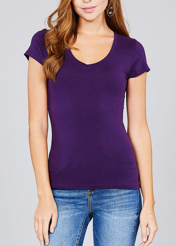 V-Neck Basic T-Shirt (Purple)