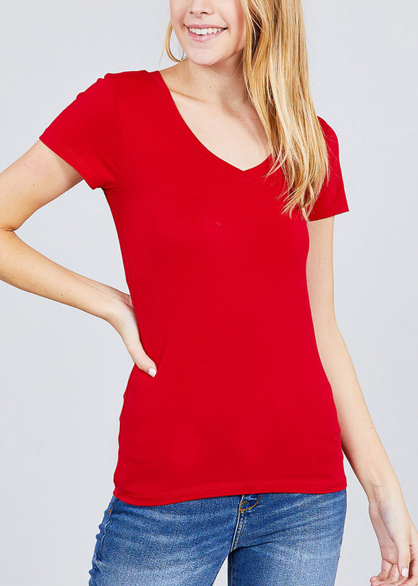 V-Neck Basic T-Shirt (Red)