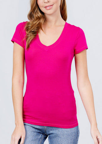 V-Neck Basic T-Shirt (Spring Hot Pink)