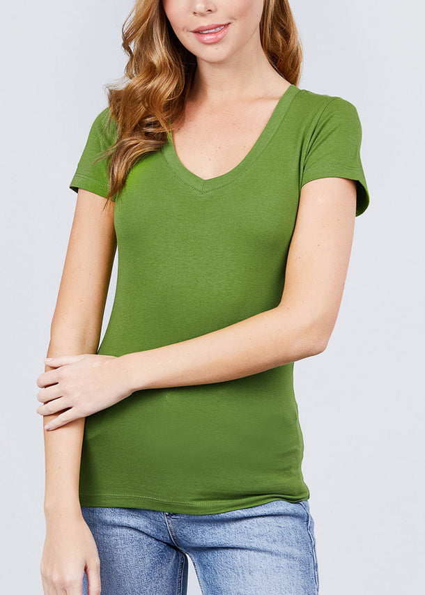 V-Neck Basic T-Shirt (Yellow Green)