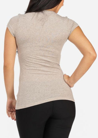 Image of V-neck Basic Tee (Beige)
