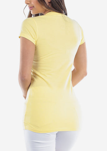 Image of Essential Basic V Neck Basic Short Sleeve Stretchy Yellow Top For Women Ladies Juniors