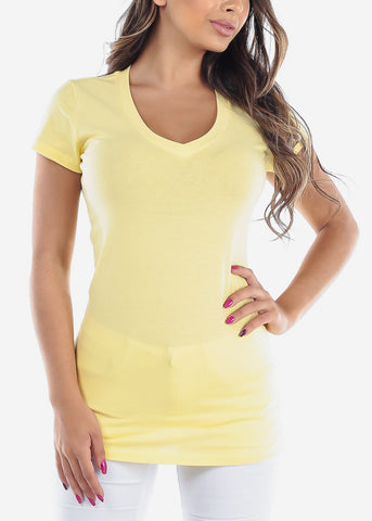 Essential Basic V Neck Basic Short Sleeve Stretchy Yellow Top For Women Ladies Juniors
