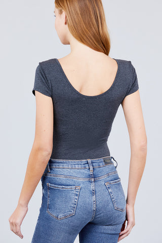 Image of Basic Stretchy Charcoal Bodysuit
