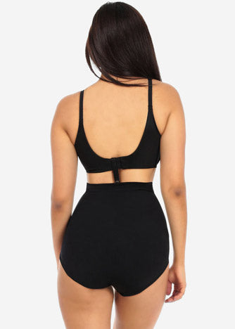 Image of Black High Waist Shapewear Panties with Bra Strap