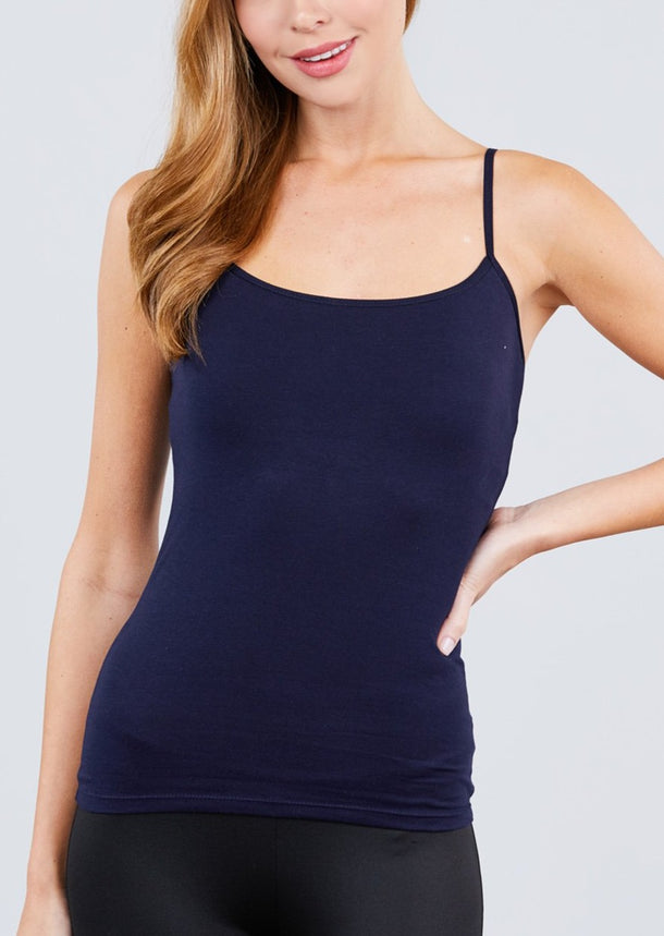 Adjustable Cotton Spaghetti Strap Tank Top (Navy)
