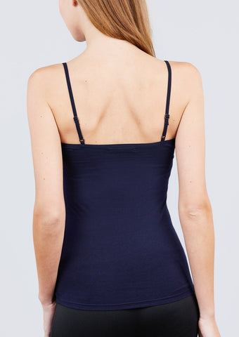 Adjustable Spaghetti Strap Tank Top (Navy)