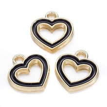Load image into Gallery viewer, 3 pcs- Gold Heart Charm, Gold Hearts, Small Heart Charms, Black and Gold, Black and Gold Heart