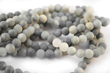 Load image into Gallery viewer, 8mm - Frosted Natural Green And Gray Rutilated Quartz Beads Strands, Matte Rutilated Beads, Matte Beads