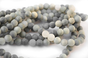 8mm - Frosted Natural Green And Gray Rutilated Quartz Beads Strands, Matte Rutilated Beads, Matte Beads