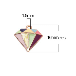 2 pcs - Retro Enamel Diamond Charm