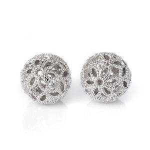 Silver Brass Micro Pave Cubic Zirconia Hollow Round Beads