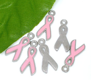 5 pcs - Pink Ribbon Charm, Breast Cancer Awareness, Breast Cancer Ribbon Charm