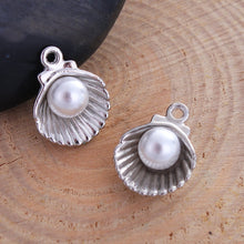 Load image into Gallery viewer, 3 pcs - Silver Alloy Sea Shell Charm, Shell Charm, Acrylic Pearl, Beach Charm, Tiny Sea Shell With Pearl, Beachy Charms