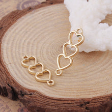 Load image into Gallery viewer, 3 pcs -Heart connector, Gold hearts, gold heart connector, triple hearts