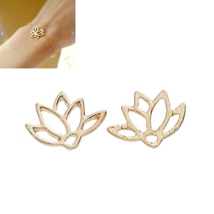 5 pcs Gold Lotus Flower Connector