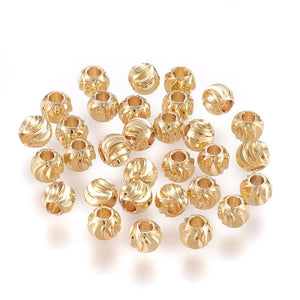 10 pcs- Gold Carved Round Spacer Beads