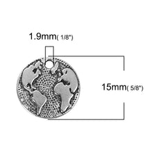 Load image into Gallery viewer, 10 pcs - Globe Charm-World Map Charm