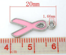 Load image into Gallery viewer, 5 pcs - Pink Ribbon Charm, Breast Cancer Awareness, Breast Cancer Ribbon Charm