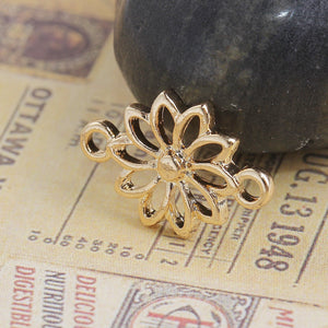 3 pcs - Gold Daisy Flower Connector