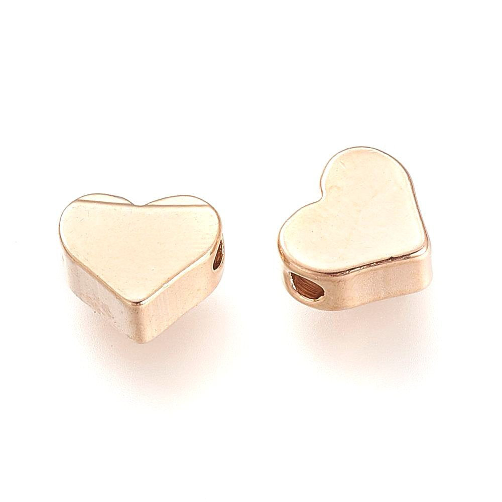 20 pcs- Real Gold Plated Heart Spacer Beads